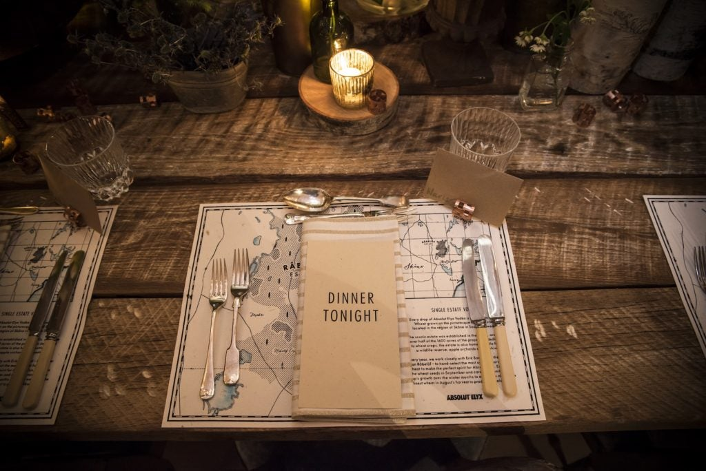 Dinner Menu at the Elyx House NYC