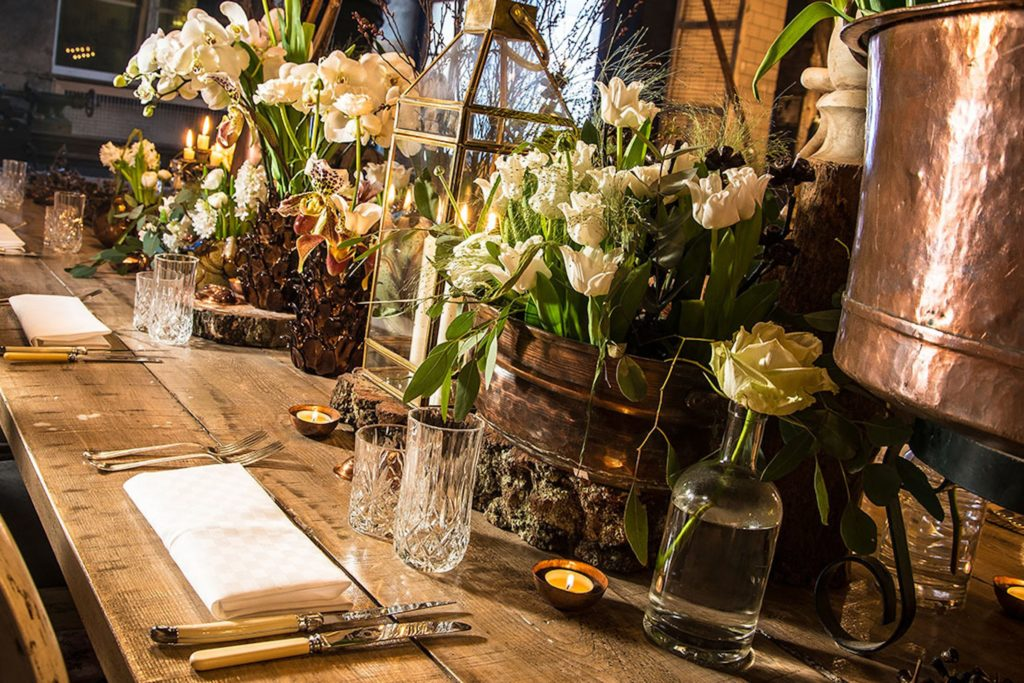 Flowers setup at the Blacksmith dinner