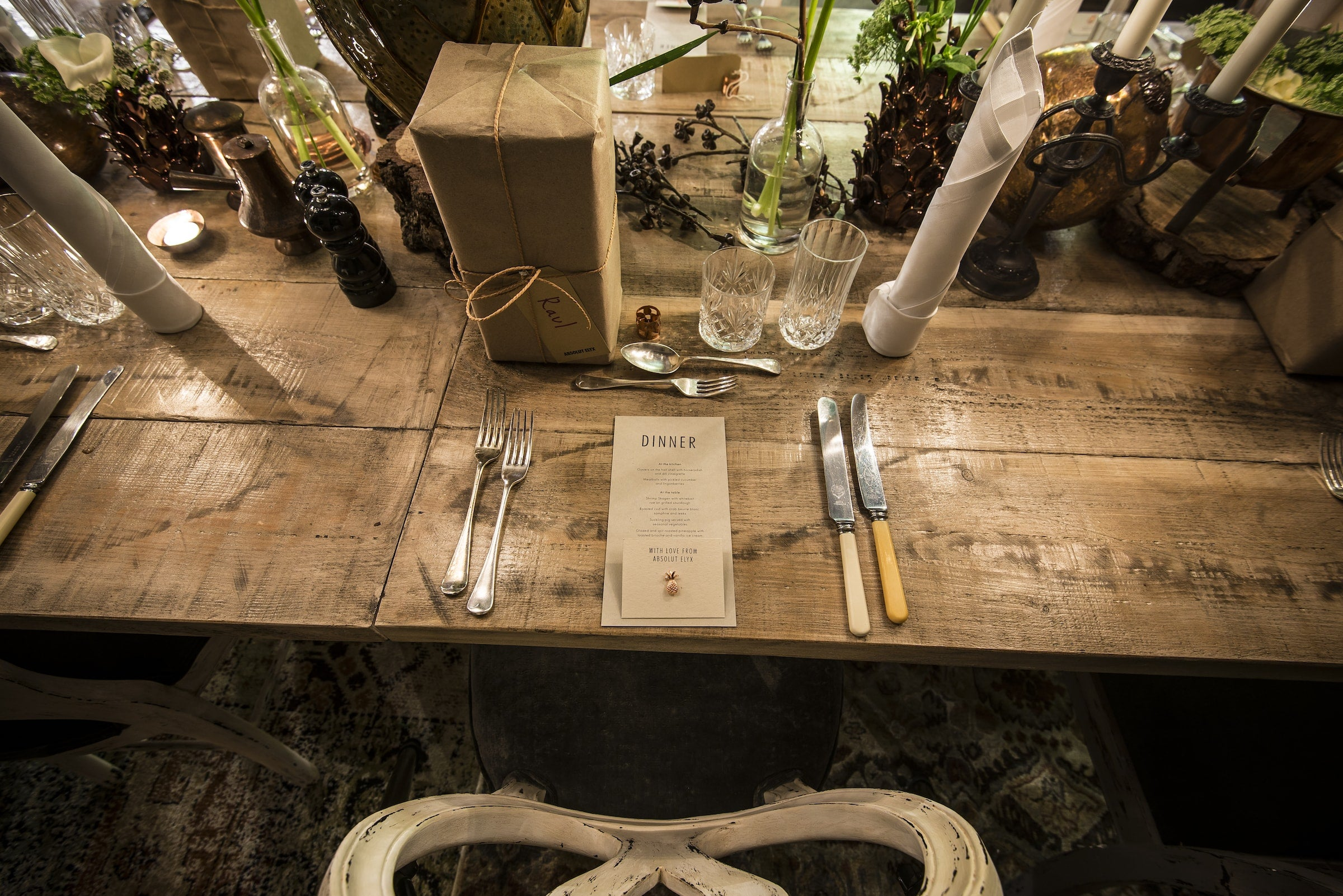 Menu and gift at the Blacksmith dinner