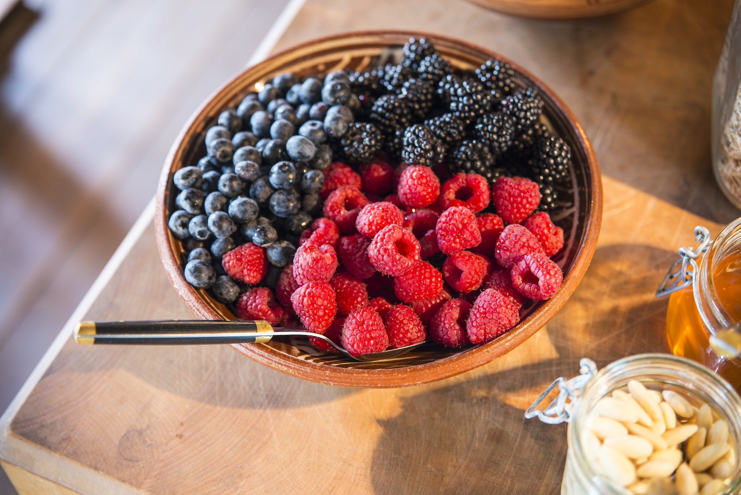 Fresh berries for breakfast at the Hunting Lodge
