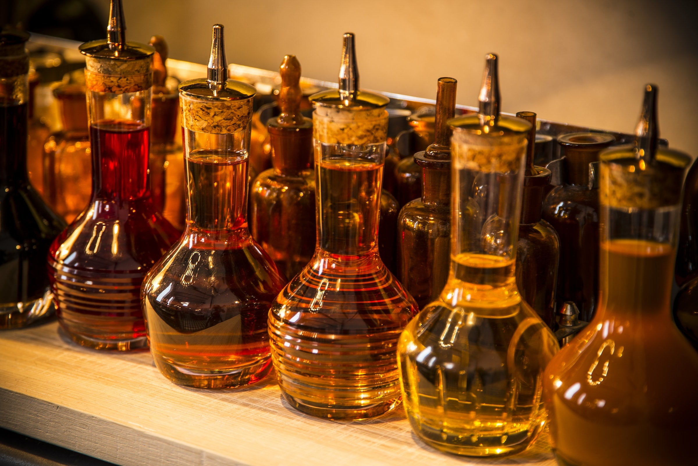 Bitters bottles in the tasting room at the Elyx Distillery
