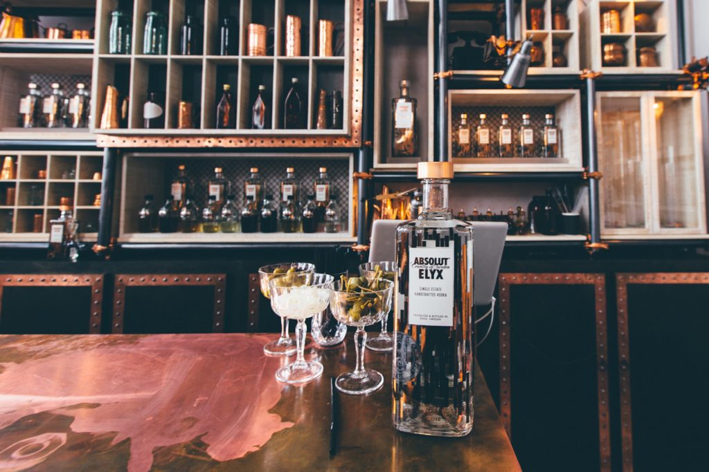 Bottles and Garnishes in the tasting room at the Elyx Distillery