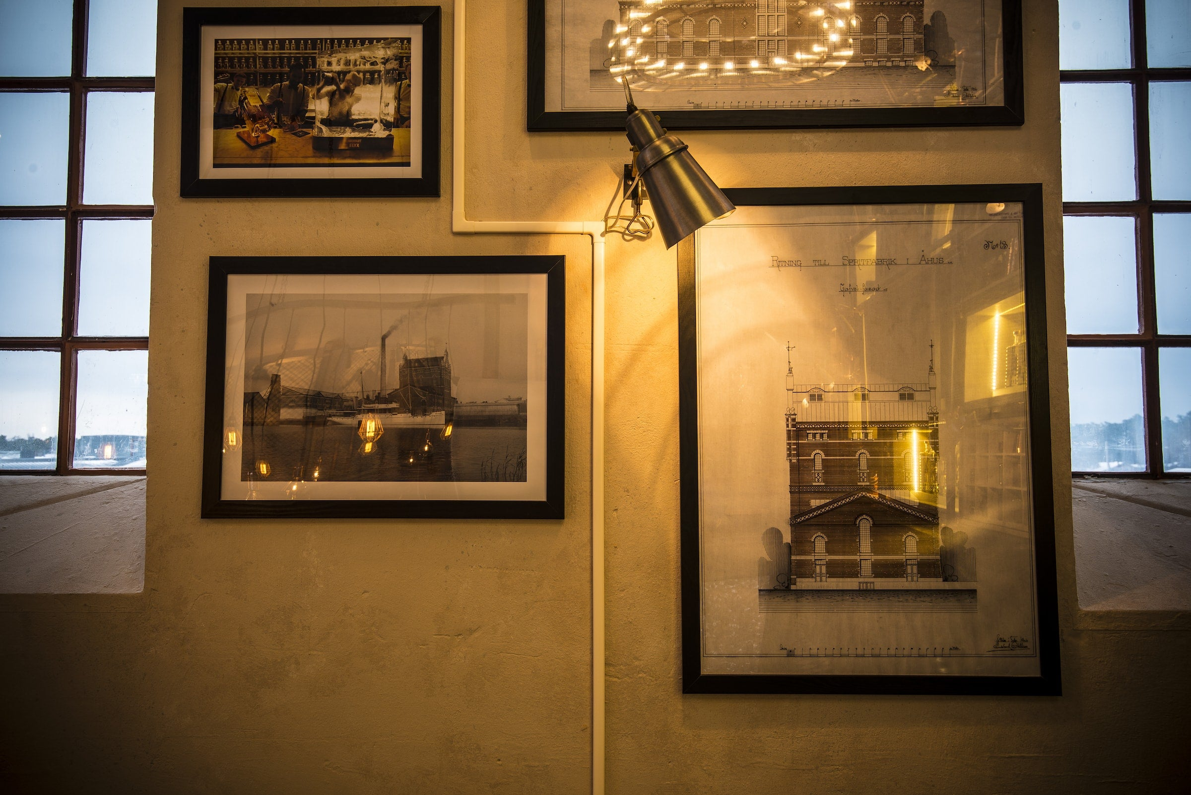 Vintage frames in the tasting room at the Elyx Distillery