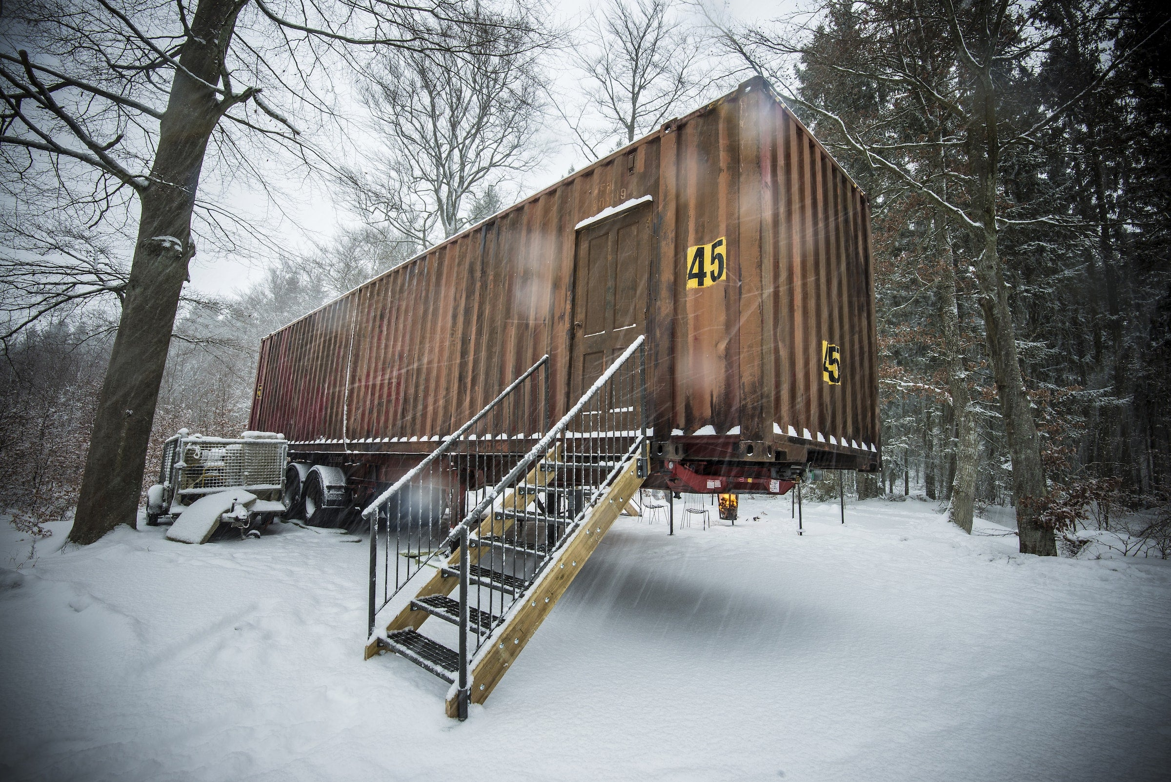 Elyx Trailer in the woods under the snow