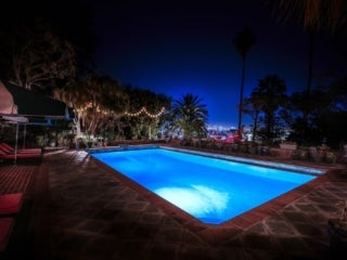 Pool by night at the Elyx House LA