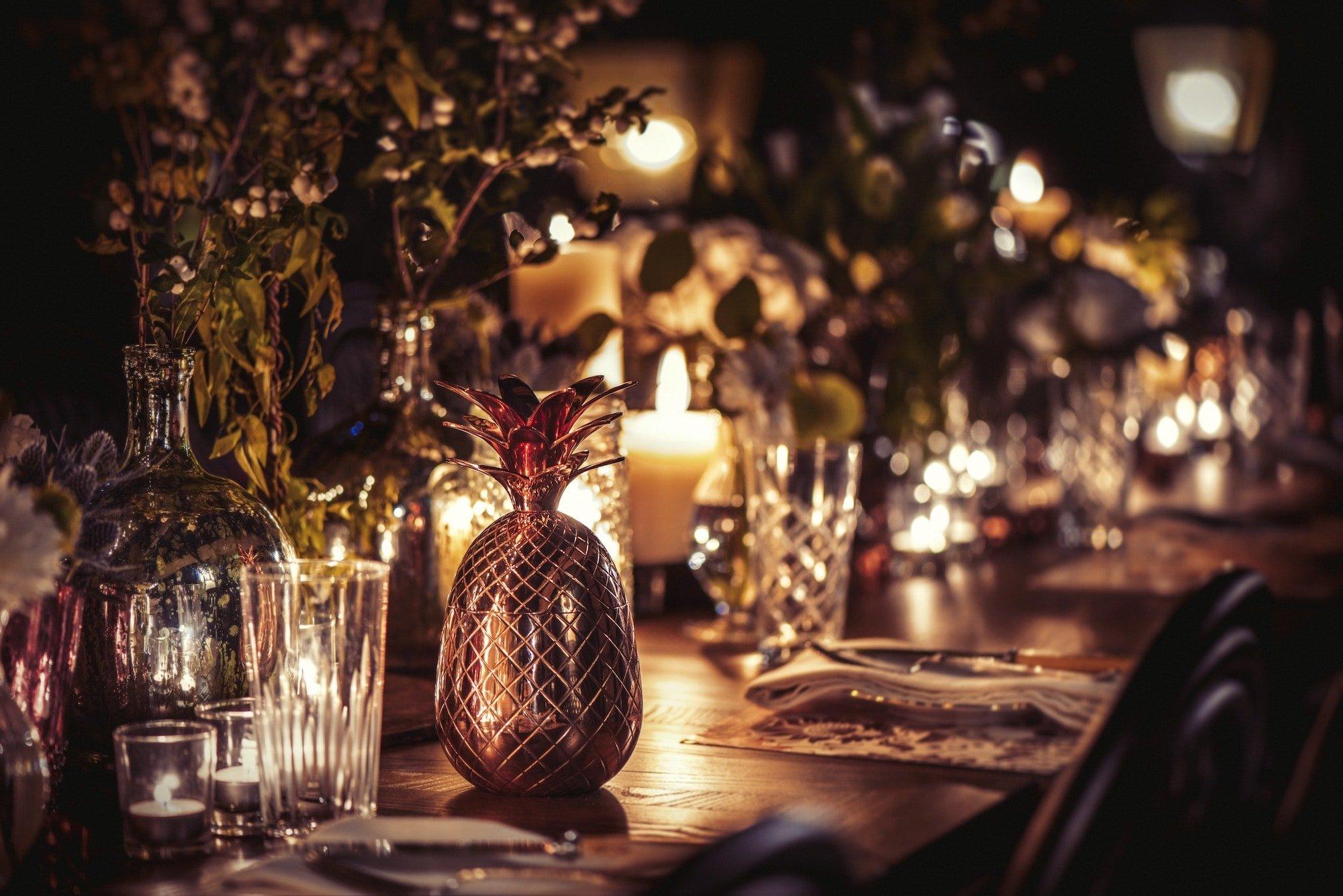 Details of the Veranda table set for Dinner