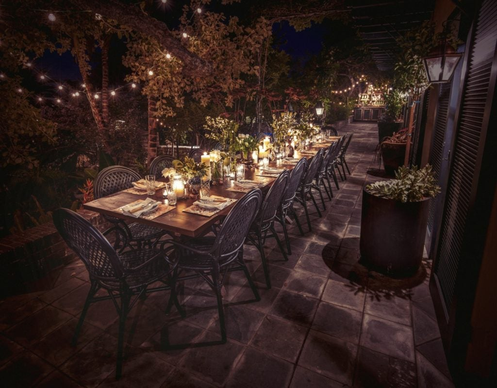 Veranda table with lights at the Elyx House LA
