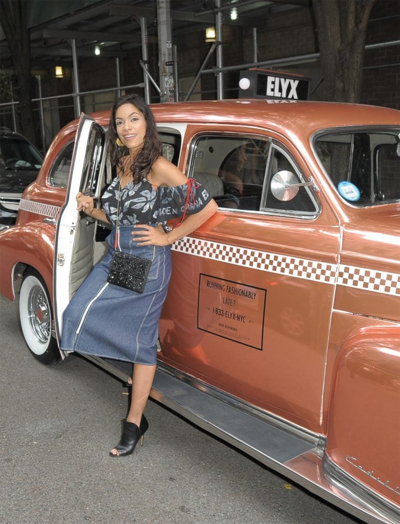 Rosario Dawson Spotted in the Absolut Elyx Copper Cab at New York Fashion Week